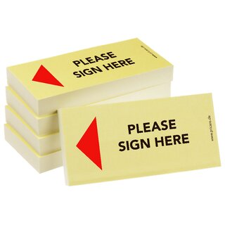 PRICARO Sticky Note Please sign here, Arrow left, 100 Sheets, Set of 5