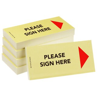 PRICARO Sticky Note Please sign here, Arrow right, 100 sheets, Set of 5