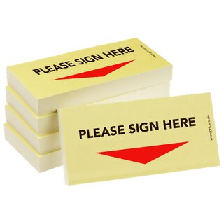 PRICARO Sticky Note Please sign here, Arrow down, 100 Sheets, Set of 5