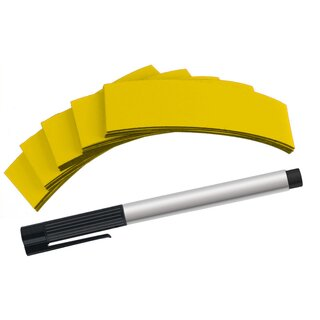 PRICARO Magnetband Gelb, 100 x 25 mm, 25 Stück inkl. Non-Permanent-Marker