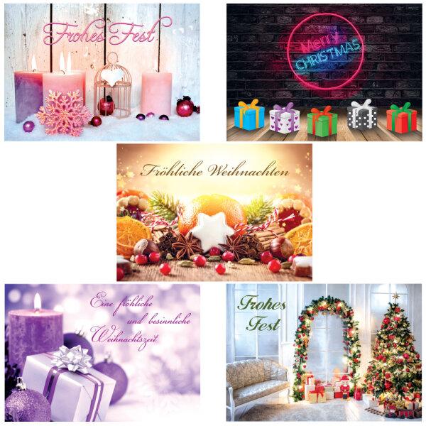 Weihnachtskarten Für Fotos.Pricaro Weihnachtskarten Mit Briefumschlägen Und Postkarten Motive 1 50 Stück
