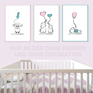 PRICARO Poster Baby-Girl, A4, 3er Set