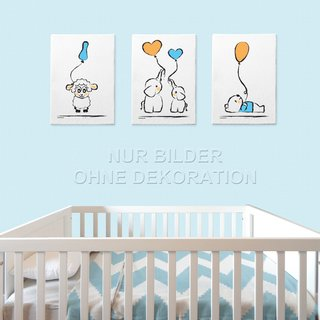 PRICARO Leinwand Baby-Boy, 30 x 40 cm, 3er Set
