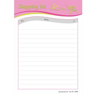 PRICARO Shopping List Speed, pink, A6, Set of 5