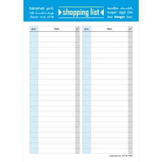 PRICARO Shopping List Typo, magnetic, blue, A5, 25 sheets, Set of 3