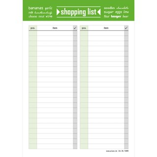 PRICARO Shopping List Typo, magnetic, green, A5, 25 sheets, Set of 3